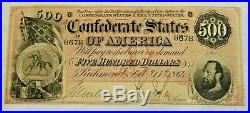 1864 $500 Dollar Bill Richmond Confederate States Civil War Currency Paper Money