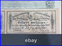 1864 CONFEDERATE STATES OF AMERICA $1000 CIVIL WAR BOND With COUPONS 5TH SERIES