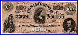 1864 Confederate States of America $100 Dollar Bill Civil War Currency Note