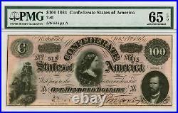 1864 T-65 $100 The Confederate States of America Note CIVIL WAR Era PMG 65 EPQ