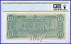 1864 T-68 $10 The Confederate States of America Note CIVIL WAR Era PCGS UNC 63