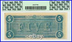 1864 T-69 $5 The Confederate States of America Note CIVIL WAR Era PCGS 50 PPQ