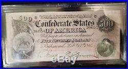 1864 The Last Confederate $500 Note Bill Paper Currency Civil War Era with Box