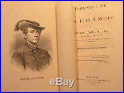 1867 Scott PARTISAN LIFE WITH COL. JOHN S. MOSBY Rare Civil War Book Confederate