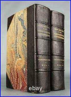 1881 1stED The RISE AND FALL of the CONFEDERATE Government CIVIL WAR Leather