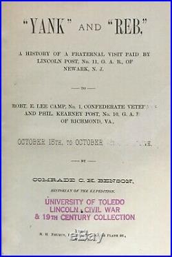 1884 Veterans YANKEE & REBEL Civil War CONFEDERATE Soldier GAR Camp ROBERT E LEE