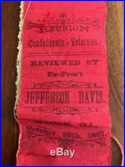 1887 Confederate Veterans Reunion Ribbon JEFFERSON DAVIS Macon GEORGIA Civil War