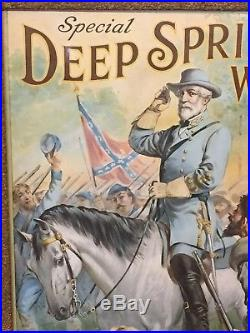 1911 Deep Spring Whiskey Poster Robert E. Lee & Confederate Soldiers Civil War
