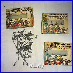 1960s Airfix US Civil War Union & Confederate Soldier Set Lot of 7 HO Scale