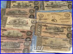 3 Currency Notescivil War Fractional+confederate+large Horse Blanket Note+++