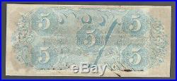 $5 Five 1863 Uncirculated CONFEDERATE Currency CSA T-60 Civil War TN Paper Money