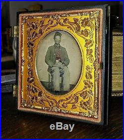 6th Plate Civil War Ambrotype Confederate Soldier Star Button Tinted Shirt