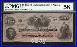 AWESOME T-41 1862 $100 Confederate Currency PMG 58 CIVIL WAR 131767