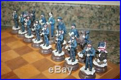 American Civil War Hand Painted Resin Chess Set & Board Union V Confederate Army