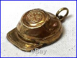 Antique 14K Gold Confederate Civil War Kepi Compass Watch Fob Pendant Charm