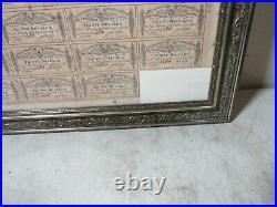 Antique 1864 Civil War Confederate States America $1000 Loan Bond Sheet Framed
