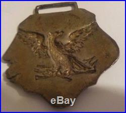 Antique American Civil War CSA Eagle Confederate Coin Silver Belt Buckle Pendant