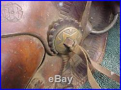 Antique Civil War Confederate Texas Hope Leather Saddle w Star Conchos Covered S