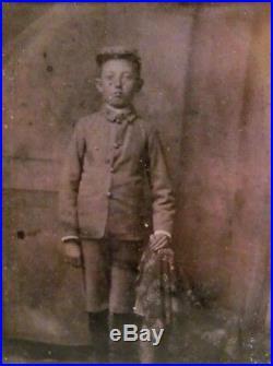 Antique Civil War Daguerreotype Tintype Confederate Drummer Boy Soldier in Case