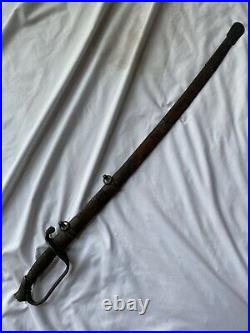 Antique Civil War Sword with Leather Scabbard Acid Etched Blade Confederate