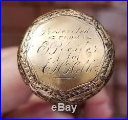 Antique Confederate CIVIL War Gold Engraved Wooden Presentation Cane Louisiana
