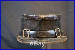 Antique Original CIVIL War Era Black Leather Kepi Shako Cap Confederate Army