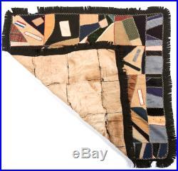 Antique Patchwork Crazy Quilt Confederate Vet Nashville UCV Ribbon pos Civil War