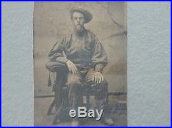Antique Vintage Civil War Confederate REBEL MILITIA Soldier Tintype Photo