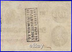 Au 1862 $100 Dollar Confederate States Currency CIVIL War Hoer Note Money T-41