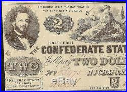 Au 1862 $2 Two Dollar Confederate States Currency CIVIL War Note Money T-42
