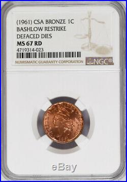 Bashlow Restrike 1861 Confederate Cent in Copper, MS67 NGC, CSA Civil War Token