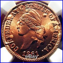 Bashlow Restrike 1861 Confederate Cent in Copper, MS68 NGC, CSA Civil War Token