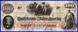 Beautiful 1862 CIVIL War $100 C. S. A. Confederate T-41 Au