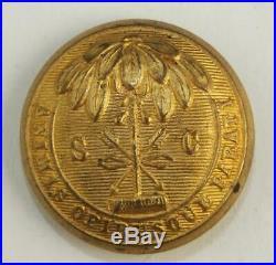 Beautiful Non Dug Confederate South Carolina State Seal CIVIL War Coat Button