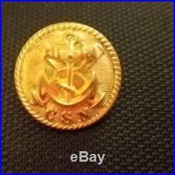CIVIL War Button 2pc Confederate Navy Officers' Uniform Albert Cs-53 Coat 23mm