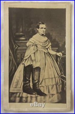 CIVIL War Confederate President Jefferson Davis In Ladies' Clothing CDV Photo
