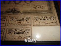 CIVIL War Confederate States America $1000 Bond Richmond Treasury Antique 1863