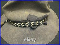 CIVIL War Confederate Veteran Slouch Hat With Cord And Reunion Pin Estate Pcs