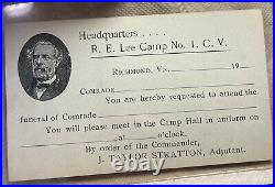 CIVIL War Confederate Veterans Robert E Lee Camp Funeral Request
