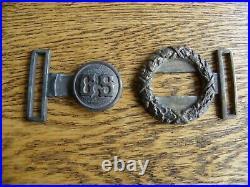CIVIL War Confederate Veterans Two Piece Cs Brass Belt Buckle
