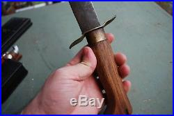 CIVIL War Hand Made Confederate Style Bowie Knife Oak Handle Brass Mounted