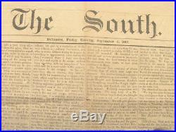 CIVIL War Maryland Confederate Newspaper The South 1861
