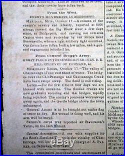 CONFEDERATE Battle of Chickamauga TN Jefferson Davis 1863 Civil War Newspaper