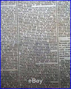 CONFEDERATE Civil War 1861 Old Newspaper with BATTLE OF WILSON'S CREEK MO Missouri