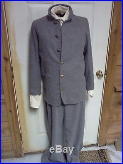 CONFEDERATE Grey Wool UNIFORM Civil War NEW 6 pc Sack Pants Shirt, Kepi, cup