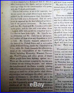 CONFEDERATE Raleigh NC North Carolina ROBERT E. LEE Civil War 1864 Newspaper