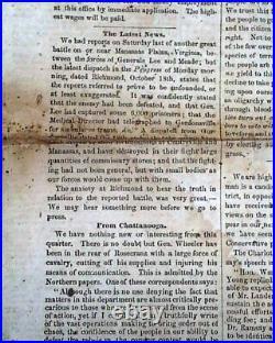 CONFEDERATE Rare RALEIGH NC North Carolina SECESSION 1863 Civil War Newspaper