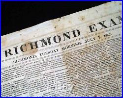 CONFEDERATE Seven Days Battles ROBERT E. LEE McClellan Civil War 1862 Newspaper