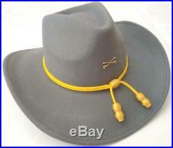 CSA CONFEDERATE REBEL CAVALRY Civil War Crossed Saber SLOUCH HAT with YELLOW CORD