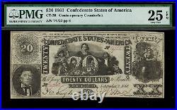 CT-20 $20 1861 Confederate Currency CSA Civil War Counterfeit PMG 25 EPQ